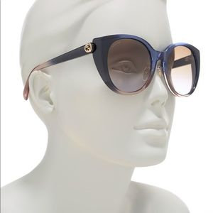 NWT GUCCI Women Blue 54mm Cat Eye Sunglasses